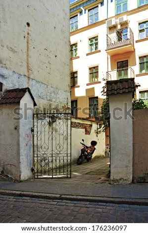 The cozy courtyard in a old town  - stock photo