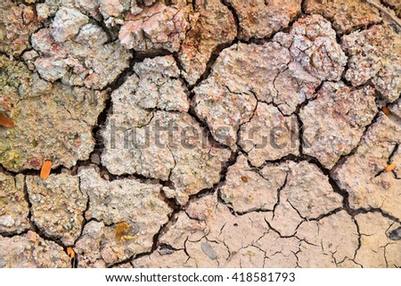 The cracked earth. The cracked ground, Ground in drought, Soil texture and dry mud, Dry land. - stock photo