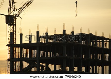 the crane on an evening background - stock photo