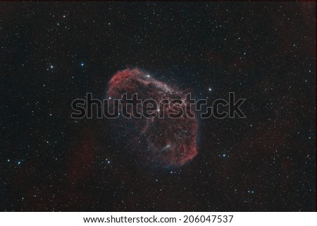 The Crescent Nebula in the Constellation Cygnus - stock photo