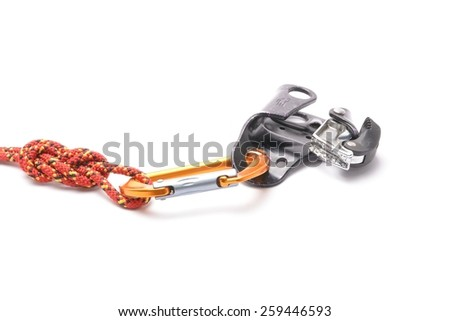 the croll chest ascender isolated on white. Climbing tool. - stock photo