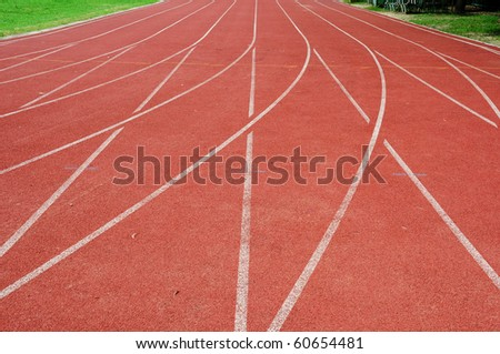 The cross track, Running track around the field. - stock photo