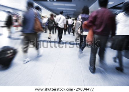 the crowd at the pudong airport shanghai china. - stock photo