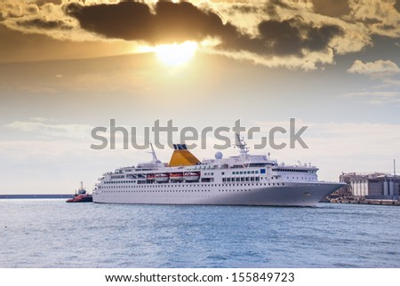 The cruise ship in the harbor. - stock photo