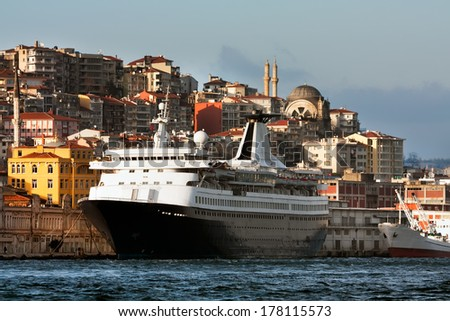 The cruise ship, standing alongside passage Bosporus, in city centre Istanbul, Turkey  - stock photo