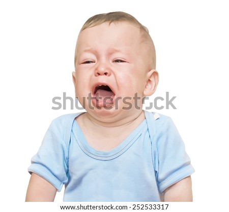 The crying boy, on  white background - stock photo