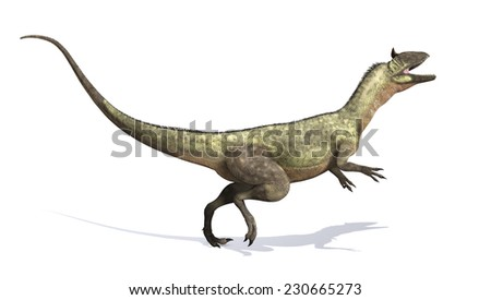 The Cryolophosaurus was a dinosaur that lived during the Early Jurassic period - 3d render.. - stock photo