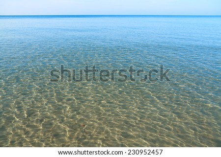 The crystal clear waters of the Chao Lao Beach Chanthaburi Thailand. - stock photo