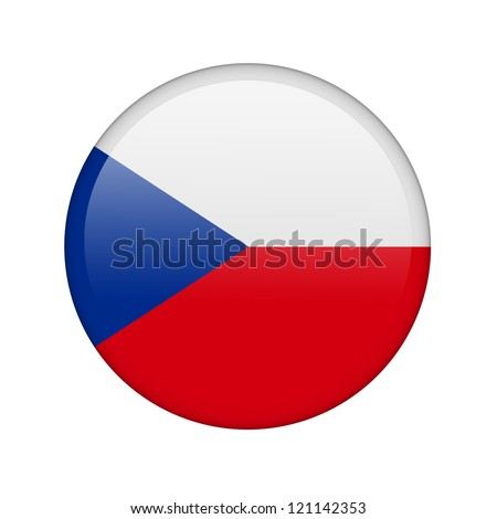 The Czech flag in the form of a glossy icon. - stock photo