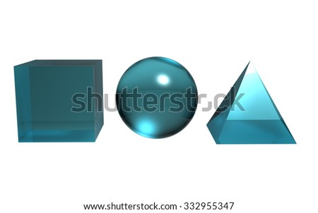 The 3d geometric create by difference textures and materials - stock photo