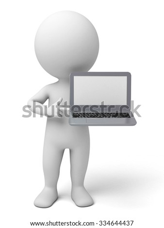 The 3d guy and a notebook computer - stock photo