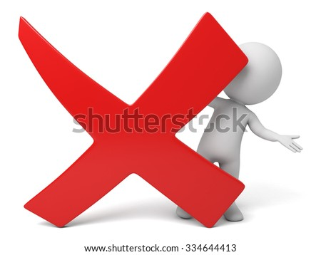The 3d guy and a sign of error - stock photo