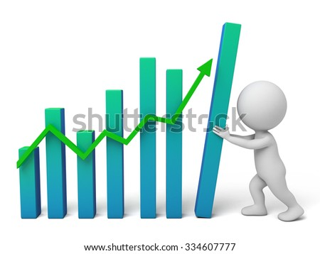 The 3D guy and a up trend curve - stock photo
