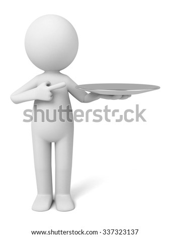The 3D guy is a restaurant server - stock photo