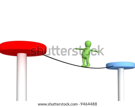 The 3d person puppet, going on a rope - stock photo