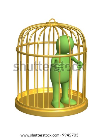The 3d person - puppet, worth in a gold cage. Objects over white - stock photo