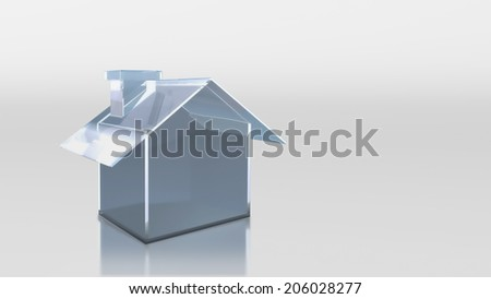 The 3D render image of investment glass house - stock photo