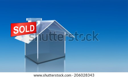 The 3D render image of investment glass house sold with blue sky background - stock photo