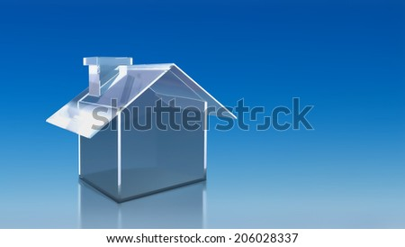 The 3D render image of investment glass house with blue sky background - stock photo