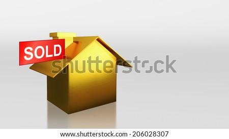 The 3D render image of investment gold house with sold sign - stock photo