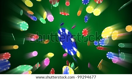 The 3d rendering of difference colored casino chips falling background - stock photo