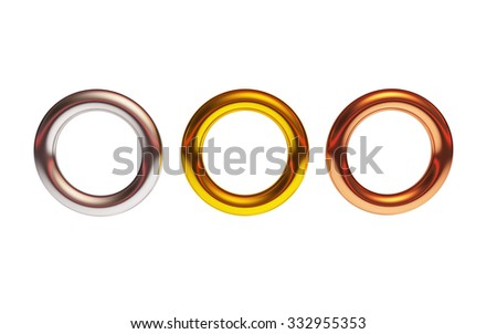 The 3d rings geometric with multiple metal materials - stock photo