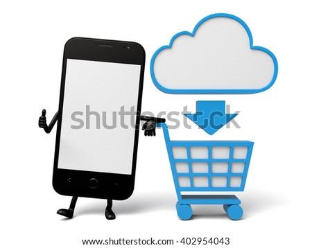 The 3d smartphone and a cloud data sign - stock photo