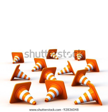 the 3d traffic cones isolated over white - stock photo