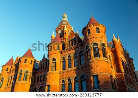 The Dallas County Courthouse also known as the Old Red Museum  - stock photo