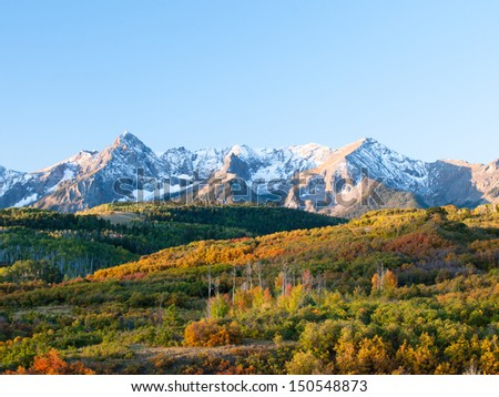 The Dallas Divide is a Colorado icon, well known for its vivid fall colors produced by scrub oak and aspens. - stock photo