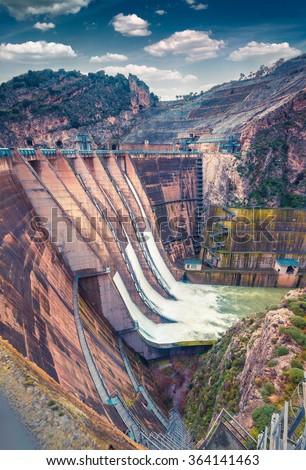 The dam on the lake Rosamarina. Sicily, Italy, Europe.  - stock photo