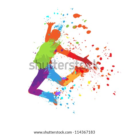 The dancing boy with colorful spots and splashes on white background, illustration. - stock photo