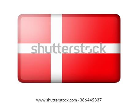 The Danish flag. Rectangular matte icon. Isolated on white background. - stock photo