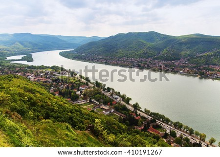 The Danube bend viewed from Visegrad castle in Hungary - stock photo