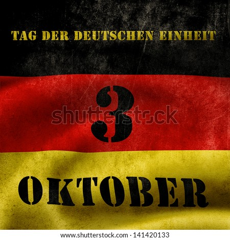 The day of german unity illustration with flag and text - stock photo