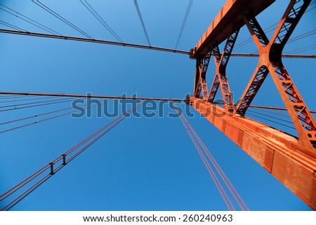"The ""25 de Abril"" bridge in Lisbon (Portugal) a copy of the  Golden Gate bridge. - stock photo"