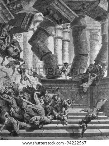 The death of Samson. 1) Le Sainte Bible: Traduction nouvelle selon la Vulgate par Mm. J.-J. Bourasse et P. Janvier. Tours: Alfred Mame et Fils. 2) 1866 3) France 4) Gustave Doré - stock photo