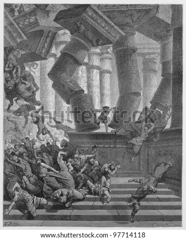 The death of Samson - Picture from The Holy Scriptures, Old and New Testaments books collection published in 1885, Stuttgart-Germany. Drawings by Gustave Dore. - stock photo