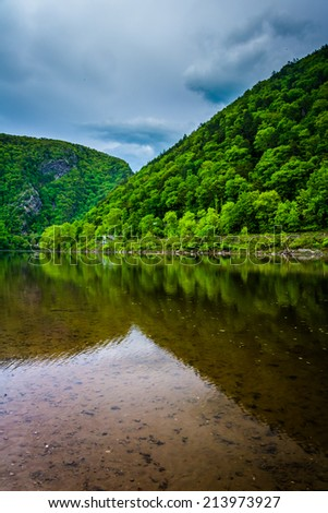 The Delaware Water Gap seen from Kittatinny Point in Delaware Water Gap National Recreational Area, New Jersey. - stock photo