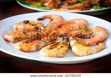 the delicious of grilled shrimp - stock photo