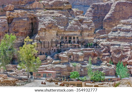 The delightful mausoleum in the ancient cave city of Petra - Jordan - stock photo