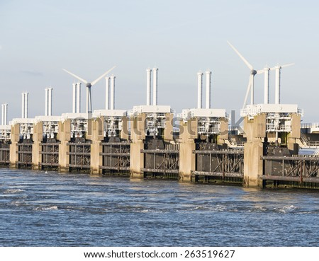 the deltaworks in holland at the Oosterschelde river to protect holland form high sea level, this is near the dutch museum neeltje jans - stock photo