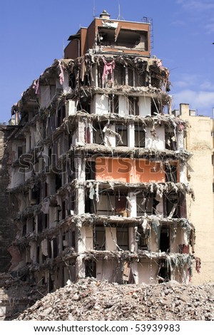 The demolition of a downtown building - stock photo