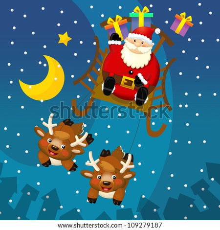 The design of christmas situation - santa claus in the sled or sleigh with the gifts - square format - illustration for the children v 1 - stock photo
