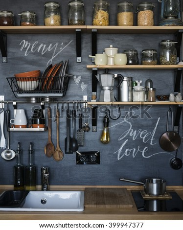 The design of the modern home kitchen in the loft-style and rustic. 