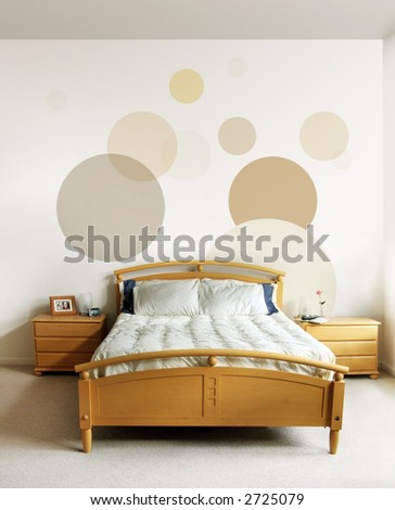 The design on the wall and on the nightstand are my own images - stock photo