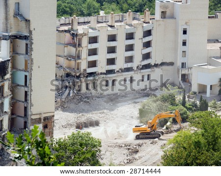 The destroyed buildings. Liquidation of consequences of earthquake - stock photo