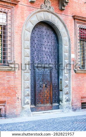 The detail of houses in Bologna , italy - stock photo