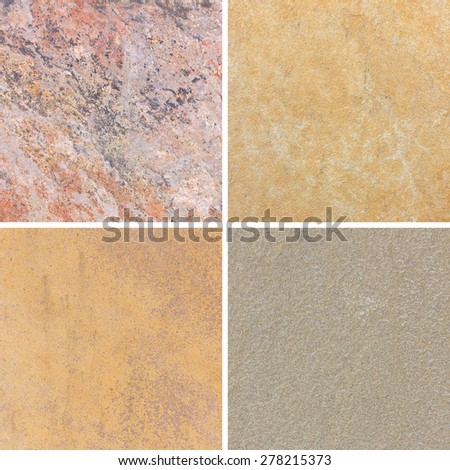 The detail texture of stone. Set of textures different stone collection - stock photo