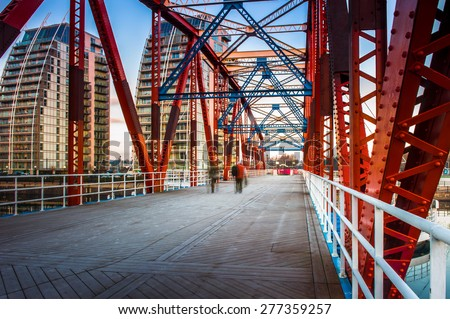 The Detroit Bridge in Salford Quays, Manchester, England - stock photo